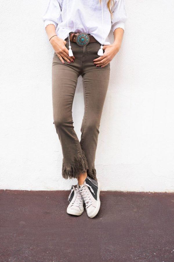 Pantalón Flecos Marrón Verdoso