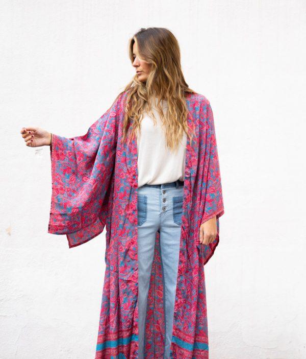 Kimono de seda Japo fresa y turquesa