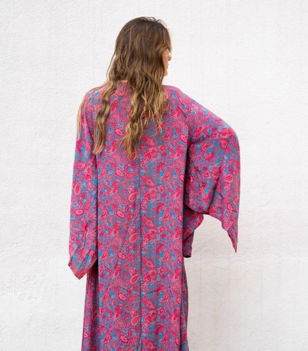 Kimono de seda Japo fresa y turquesa espalda
